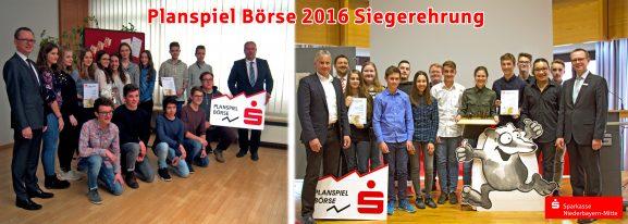 Siegerehrung Collage für Planspiel Börse in Straubing und Dingolfing bei der Sparkasse
